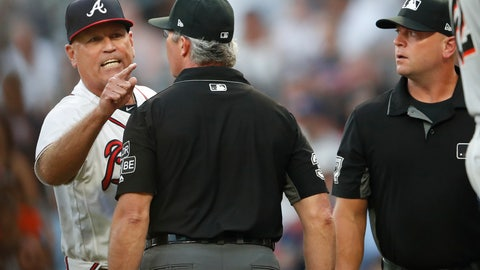 <p>               Atlanta Braves manager Brian Snitker argues with the umpiring crew after Ronald Acuna Jr was hit by a pitch from Miami Marlins starting pitcher Jose Urena during the first inning of a baseball game Wednesday , Aug. 15, 2018 in Atlanta. Urena was ejected. (AP Photo/John Bazemore)             </p>