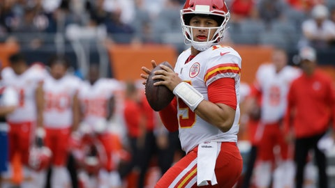 <p>               FILE - In this Aug. 25, 2018, file photo, Kansas City Chiefs' Patrick Mahomes looks for a receiver during the first half of the team's preseason NFL football game against the Chicago Bears in Chicago. The Chiefs' first-round pick in last year's draft, Mahomes is poised to begin his NFL quarterback career in earnest after the offseason trade of Alex Smith to Washington.(AP Photo/Annie Rice, File)             </p>