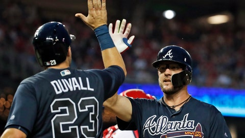 <p>               Atlanta Braves' Adam Duvall celebrates with Tyler Flowers after Flowers' two-run home run during the fourth inning of a baseball game against the Washington Nationals at Nationals Park, Wednesday, Aug. 8, 2018, in Washington. (AP Photo/Alex Brandon)             </p>
