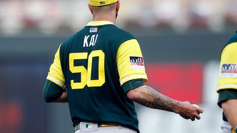 "<p>               Oakland Athletics' starting pitcher Mike Fiers wears his nickname ""Kai"" on his jersey as he finished a visit with catcher Jonathan Lucroy in the first inning of a baseball game against the Minnesota Twins, Saturday, Aug. 25, 2018, in Minneapolis. (AP Photo/Jim Mone)             </p>"
