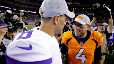 <p>               Denver Broncos quarterback Case Keenum, right, greets Minnesota Vikings quarterback Kirk Cousins after an NFL football preseason game Saturday, Aug. 11, 2018, in Denver. (AP Photo/Jack Dempsey)             </p>