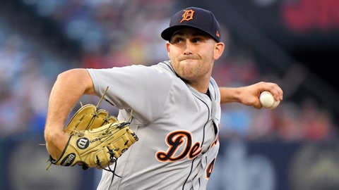 <p>               Detroit Tigers starting pitcher Matthew Boyd throws to the plate during the first inning of a baseball game against the Los Angeles Angels Monday, Aug. 6, 2018, in Anaheim, Calif. (AP Photo/Mark J. Terrill)             </p>