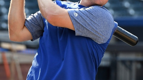 <p>               New York Mets' Jay Bruce warms up before a baseball game against the Washington Nationals, Friday, Aug. 24, 2018, in New York. (AP Photo/Kathleen Malone-Van Dyke)             </p>