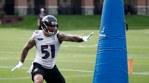<p>               FILE - In this June 13, 2018, file photo, Baltimore Ravens linebacker Kamalei Correa runs a drill during an NFL football practice at the team's headquarters in Owings Mills, Md. The Tennessee Titans have acquired linebacker Kamalei Correa from the Baltimore Ravens for an undisclosed draft pick. The Titans announced the trade Tuesday, Aug. 28, 2018. (AP Photo/Patrick Semansky, File)             </p>