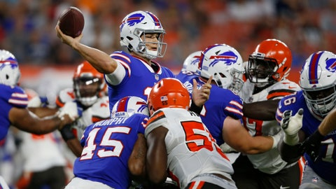 <p>               Buffalo Bills quarterback Josh Allen throws a pass during the first half of the team' NFL football preseason game against the Cleveland Browns, Friday, Aug. 17, 2018, in Cleveland. (AP Photo/Ron Schwane)             </p>