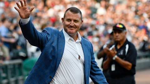 <p>               Chicago White Sox great Jim Thome, who was inducted this year into the Baseball Hall of Fame, waves to fans before the team's baseball game against the Cleveland Indians on Saturday, Aug. 11, 2018, in Chicago. (AP Photo/Matt Marton)             </p>