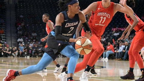 <p>               Atlanta Dream guard Brittney Sykes (7) drives against the defense of Washington Mystics guard Elena Delle Donne (11) during the first half of Game 2 of a WNBA semifinals basketball playoff Tuesday, Aug. 28, 2018, in Atlanta. (AP Photo/John Amis)             </p>