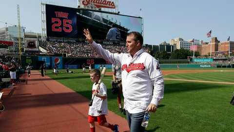 <p>               Former Cleveland Indians and Hall of Famer Jim Thome waves to fans before a baseball game between the Cleveland Indians and the Baltimore Orioles, Saturday, Aug. 18, 2018, in Cleveland. The club's career home run leader, Thome was honored during a ceremony Saturday. Thome belted 337 of his 612 career homers during two stints with the Indians and his powerful swing helped the club rise from perennial laughingstock to one of baseball's best teams in the 1990s. (AP Photo/Tony Dejak)             </p>