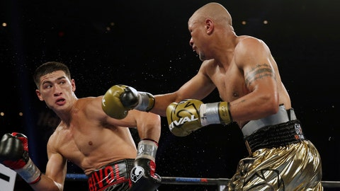 <p>               Dmitry Bivol, left, of Russia,dodges a punch by Isaac Chilemba, of Malawi, during 12th round of their light heavyweight bout Saturday, Aug. 4, 2018, in Atlantic City, N.J. Bivol won by unanimous decision. (AP Photo/Mel Evans)             </p>