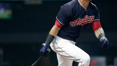 <p>               Cleveland Indians' Leonys Martin watches his sacrifice fly in the eighth inning of a baseball game against the Minnesota Twins, Tuesday, Aug. 7, 2018, in Cleveland. Michael Brantley scored on the play. (AP Photo/Tony Dejak)             </p>