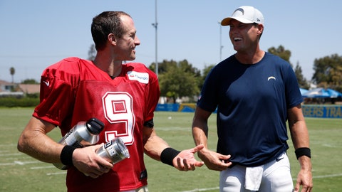 <p>               FILE - In this Aug. 22, 2018, file photo, New Orleans Saints quarterback Drew Brees, left, and Los Angeles Chargers quarterback Philip Rivers share a light moment after a joint NFL football practice, in Costa Mesa, Calif. The history between Philip Rivers and Drew Brees has many of the ingredients for a major sports rivalry. Except these two veteran quarterbacks still genuinely like and respect each other 14 years after they were thrown together with the San Diego Chargers. (AP Photo/Jae C. Hong, File)             </p>