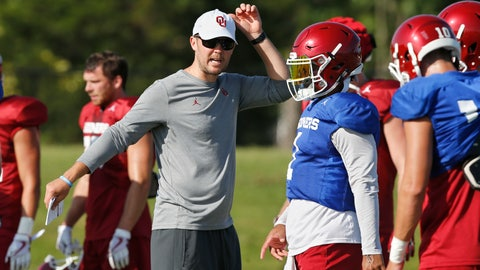 <p>               FILE - In this Monday, Aug. 6, 2018, file photo, Oklahoma head coach Lincoln Riley, left, directs quarterbacks Kyler Murray, center, and Austin Kendall, right, during an NCAA college football practice in Norman, Okla. Riley expects either Murray or Kendall to step in at quarterback and lead the Sooners back to the College Football Playoff. (AP Photo/Sue Ogrocki, File)             </p>