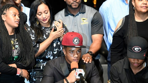 <p>               FILE - In this Feb. 7, 2018, file photo, Patrick Surtain Jr. is interviewed with his family behind him, after announcing he is signing with Alabama on national signing day in Plantation, Fla. Alabama needs immediate help in the secondary after losing its top six defensive backs from last year's national championship team. That should create an early opportunity for Surtain, rated by the 247Sports Composite as the nation's No.  1 cornerback and No. 6 overall prospect in his class. (Taimy Alvarez/South Florida Sun-Sentinel via AP, File)             </p>