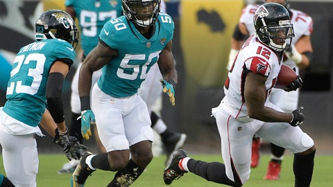 <p>               In this Aug. 25, 2018, photo, Atlanta Falcons wide receiver Mohamed Sanu (12) runs after catching a pass in front of Jacksonville Jaguars defensive back Tyler Patmon (23) and linebacker Telvin Smith (50) during the first half of an NFL preseason football game in Jacksonville, Fla. The Jaguars relied on stout defense to win the AFC South and reach the conference title game last season. They return 12 of their top 14 players on that side of the ball and believe they will be even better this fall. (AP Photo/Phelan M. Ebenhack)             </p>