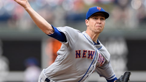 <p>               New York Mets starting pitcher Jacob deGrom throws during the first inning of a baseball game against the Philadelphia Phillies, Saturday, Aug. 18, 2018, in Philadelphia. (AP Photo/Michael Perez)             </p>