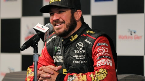 <p>               Martin Truex Jr. answers questions during an interview after a practice session for a NASCAR Cup series auto race, Saturday, Aug. 4, 2018, in Watkins Glen, N.Y. (AP Photo/Julie Jacobson)             </p>