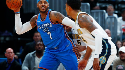 <p>               File- This Nov. 9, 2017, file photo shows Oklahoma City Thunder forward Carmelo Anthony, left, looking to pass the ball as Denver Nuggets guards Gary Harris, front right, and Will Barton defend during the second half of an NBA basketball game in Denver.  Anthony signed a one-year, $2.4 million deal with the Houston Rockets on Monday, Aug. 13, 2018. Anthony was traded from the Oklahoma City Thunder to the Atlanta Hawks last month before the Hawks released him. Houston general manager Daryl Morey announced the signing and the Rockets posted a picture on social media of Anthony signing his contract. (AP Photo/David Zalubowski, File)             </p>