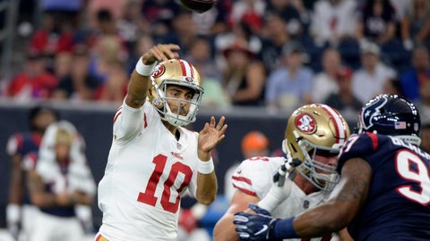 <p>               San Francisco 49ers quarterback Jimmy Garoppolo (10) throws a pass against the Houston Texans during the first half of an NFL preseason football game Saturday, Aug. 18, 2018, in Houston. (AP Photo/Eric Christian Smith)             </p>