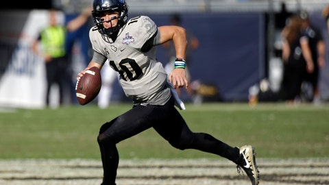 <p>               FILE - In this Dec. 2, 2017, file photo, Central Florida quarterback McKenzie Milton scrambles during the second half of the American Athletic Conference championship NCAA college football game against Memphis, in Orlando, Fla. Most of the playmakers return from one of the best offenses in the country, including gifted quarterback McKenzie Milton. (AP Photo/John Raoux, File)             </p>