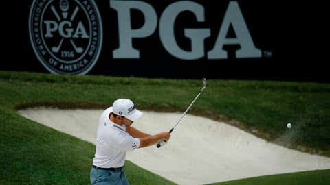 <p>               Patrick Cantlay hits onto the 6th green as he practices for the PGA Championship golf tournament Monday, Aug. 6, 2018, at Bellerive in St. Louis. (AP Photo/Charlie Riedel)             </p>