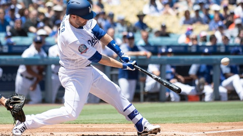 <p>               Los Angeles Dodgers' Brian Dozier hits a two-run double during the first inning of a baseball game against the Houston Astros in Los Angeles, Sunday, Aug. 5, 2018. (AP Photo/Kyusung Gong)             </p>