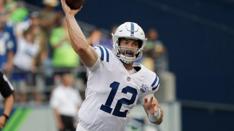 <p>               Indianapolis Colts quarterback Andrew Luck (12) passes during the first half of an NFL football preseason game against the Seattle Seahawks, Thursday, Aug. 9, 2018, in Seattle. (AP Photo/Elaine Thompson)             </p>