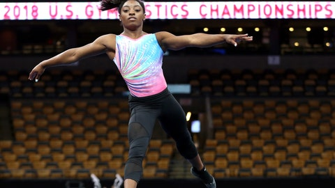 <p>               Simone Biles practices on the floor during a training session at the U.S. Gymnastics Championships, Wednesday, Aug. 15, 2018, in Boston. (AP Photo/Elise Amendola)             </p>