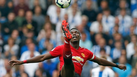 <p>               Manchester United's Paul Pogba controls the ball during the English Premier League soccer match between Brighton and Hove Albion and Manchester United at the Amex stadium in Brighton, England, Sunday, Aug. 19, 2018. (AP Photo/Alastair Grant)             </p>