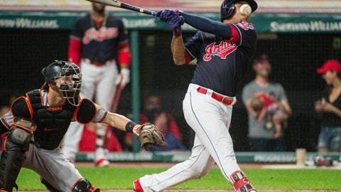 <p>               Cleveland Indians' Jose Ramirez, right, fouls off a pitch from Baltimore Orioles starting pitcher David Hess as catcher Caleb Joseph watches during the fifth inning of a baseball game in Cleveland, Friday, Aug. 17, 2018. (AP Photo/Phil Long)             </p>