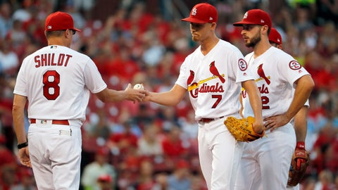 <p>               St. Louis Cardinals starting pitcher Luke Weaver (7) is removed by interim manager Mike Shildt (8) as shortstop Paul DeJong watches during the fourth inning of the team's baseball game against the Washington Nationals on Thursday, Aug. 16, 2018, in St. Louis. (AP Photo/Jeff Roberson)             </p>