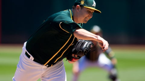 <p>               Oakland Athletics starting pitcher Trevor Cahill (53) delivers against the Detroit Tigers during the first inning of a baseball game, Sunday, Aug. 5, 2018, in Oakland, Calif. (AP Photo/D. Ross Cameron)             </p>