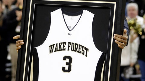 <p>               FILE - In this March 2, 2013, file photo, Los Angeles Clippers' Chris Paul shows his Wake Forest jersey to fans as the school retired his number during a ceremony at halftime of an NCAA college basketball game between Wake Forest and Maryland in Winston-Salem, N.C. Former Wake Forest guard and NBA All-Star Chris Paul is donating $2.5 million in support of the Demon Deacons' basketball team, the school announced Tuesday, Aug. 7, 2018. (AP Photo/Chuck Burton, File)             </p>