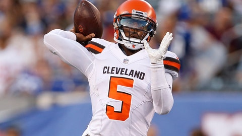 <p>               Cleveland Browns quarterback Tyrod Taylor (5) throws a pass during the first half of a preseason NFL football game against the New York Giants, Thursday, Aug. 9, 2018, in East Rutherford, N.J. (AP Photo/Adam Hunger)             </p>