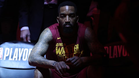 May 3, 2018; Toronto, Ontario, CAN; Cleveland Cavaliers forward J.R. Smith (5) waits on the bench before the start of their game against the Toronto Raptors in game two of the second round of the 2018 NBA Playoffs at Air Canada Centre. The Cavaliers beat the Raptors 128-110. Mandatory Credit: Tom Szczerbowski-USA TODAY Sports