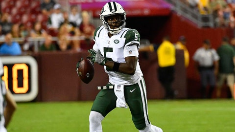 Aug 16, 2018; Landover, MD, USA; New York Jets quarterback Teddy Bridgewater (5) rolls out against the Washington Redskins during the second half at FedEx Field. Mandatory Credit: Brad Mills-USA TODAY Sports