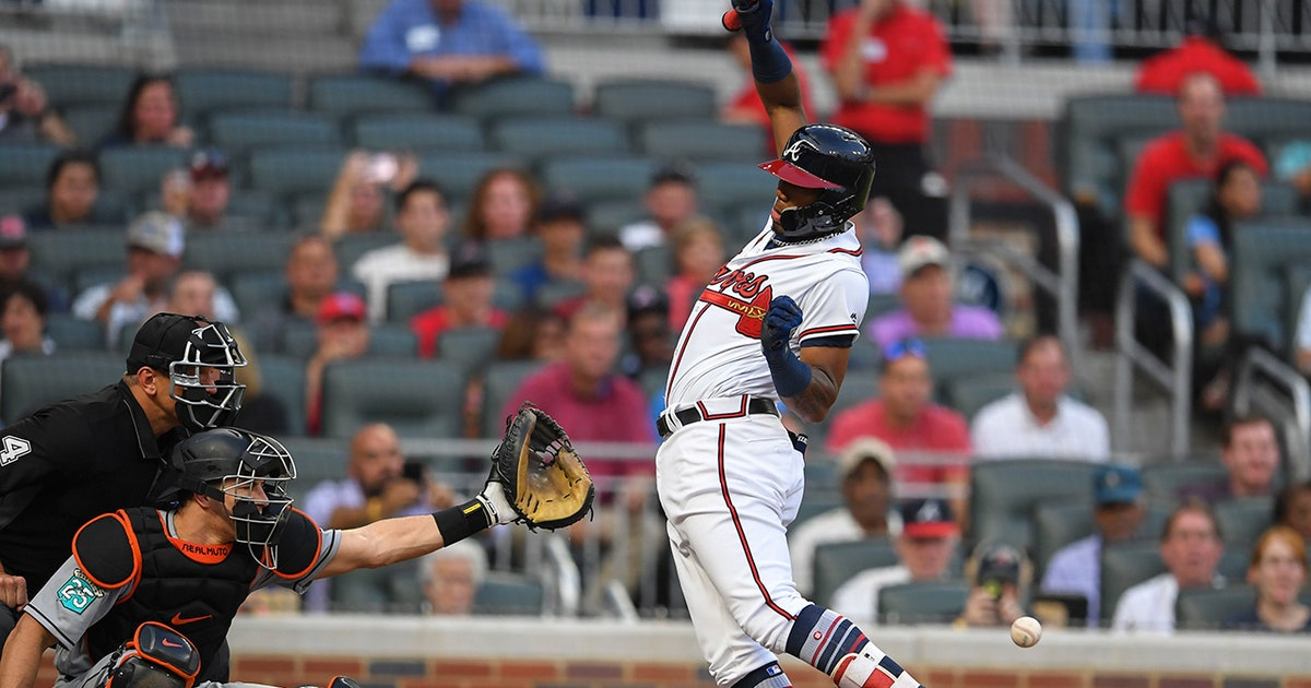 a81840727 Braves LIVE To GO  Benches clear after Acuña hit by pitch  Braves sweep  Marlins