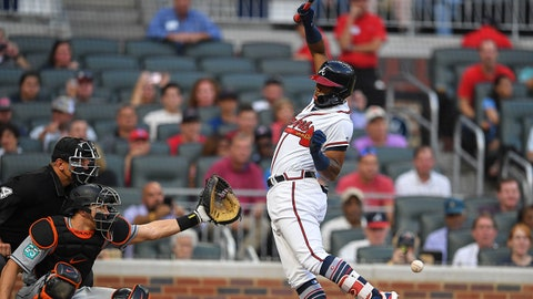 Aug 15, 2018; Atlanta, GA, USA; Atlanta Braves left fielder Ronald Acuna Jr. (13) is hit by the first pitch of the game against the Miami Marlins during the first inning at SunTrust Park. Mandatory Credit: Dale Zanine-USA TODAY Sports