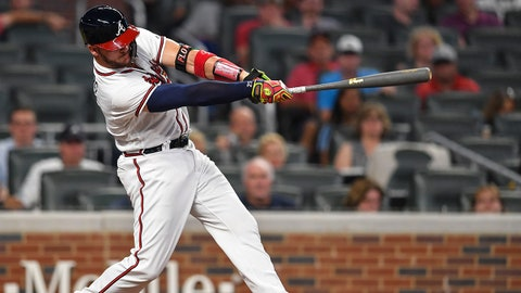 Aug 28, 2018; Atlanta, GA, USA; Atlanta Braves pinch hitter Tyler Flowers (25) hits a two run home run against the Tampa Bay Rays during the eighth inning at SunTrust Park. Mandatory Credit: Dale Zanine-USA TODAY Sports