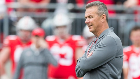 Apr 14, 2018; Columbus, OH, USA; Ohio State Buckeyes head coach Urban Meyer watches as his team competes in the Spring Game at Ohio Stadium. Mandatory Credit: Greg Bartram-USA TODAY Sports