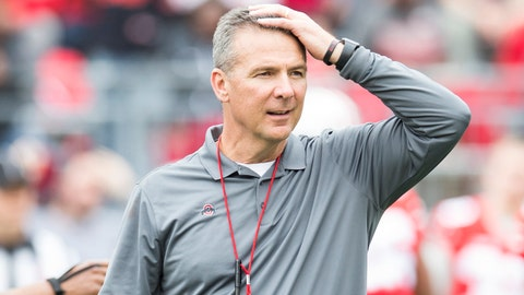 Apr 14, 2018; Columbus, OH, USA; Ohio State Buckeyes head coach Urban Meyer watches his team compete during the Spring Game at Ohio Stadium. Mandatory Credit: Greg Bartram-USA TODAY Sports