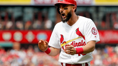<p>               St. Louis Cardinals' Matt Carpenter celebrates after reaching base on a bunt single during the sixth inning of a baseball game against the Milwaukee Brewers, Sunday, Aug. 19, 2018, in St. Louis. (AP Photo/Jeff Roberson)             </p>