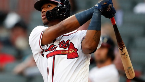 <p>               Atlanta Braves' Ronald Acuna Jr. (13) follows through on a lead-off home run in the first inning of a baseball game against the Miami Marlins Tuesday, Aug. 14, 2018 in Atlanta. (AP Photo/John Bazemore)             </p>