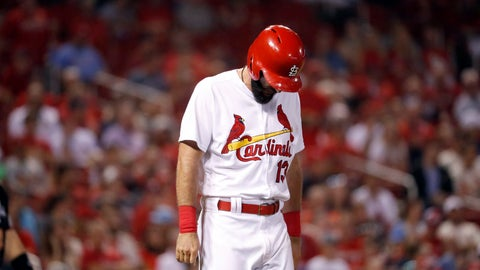 <p>               St. Louis Cardinals' Matt Carpenter hangs his head after being hit by a pitch during the seventh inning of a baseball game against the Washington Nationals on Wednesday, Aug. 15, 2018, in St. Louis. Carpenter left the game. (AP Photo/Jeff Roberson)             </p>