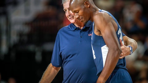 <p>               In this Friday, Aug. 10, 2018, photo, former UConn head basketball coach Jim Calhoun wraps his arm around former UConn and NBA star Ray Allen during Connecticut's alumni basketball game in Uncasville, Conn. Calhoun, who hosted the biannual charity game, believes the UConn program remains championship caliber. (Mark Mirko/Hartford Courant via AP)             </p>