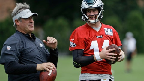 <p>               FILE - In this Aug. 21, 2018, file photo, Philadelphia Eagles quarterback Carson Wentz and coach Doug Pederson talk during practice at the team's NFL football training facility in Philadelphia. Wentz is one of several key players who missed Philadelphia's playoff run and are returning from injuries. (AP Photo/Matt Rourke, File)             </p>