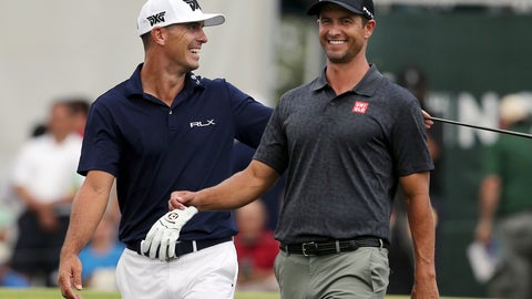 <p>               Billy Horschel, left laughs with Adam Scott, of Australia, as they walk on the 17th hole during the final round of the Northern Trust golf tournament Sunday, Aug. 26, 2018, in Paramus, N.J. Bryson DeChambeau won the tournament. (AP Photo/Mel Evans)             </p>