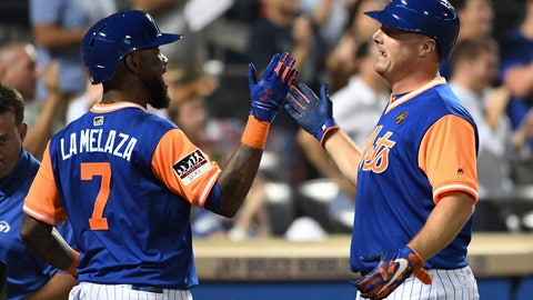 <p>               New York Mets 'Jose Reyes, left, greets Jay Bruce, who had hit a two-run home run against the Washington Nationals during the eighth inning of a baseball game Friday, Aug. 24, 2018, in New York. (AP Photo/Kathleen Malone-Van Dyke)             </p>