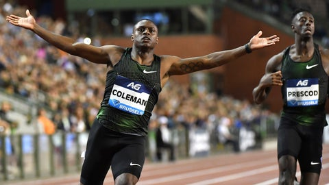 <p>               Christian Coleman, left, of the United States cross the finish line to place first in the men's 100m during the Diamond League Memorial Van Damme athletics event at the King Baudouin stadium in Brussels on Friday, Aug. 31, 2018. (AP Photo/Geert Vanden Wijngaert)             </p>