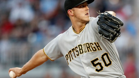<p>               Pittsburgh Pirates starting pitcher Jameson Taillon works against the Atlanta Braves during the first inning of a baseball game Friday, Aug. 31, 2018, in Atlanta. (AP Photo/John Bazemore)             </p>