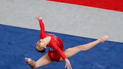 <p>               Morgan Hurd competes on the floor exercise at the U.S. Gymnastics Championships, Friday, Aug. 17, 2018, in Boston. (AP Photo/Elise Amendola)             </p>